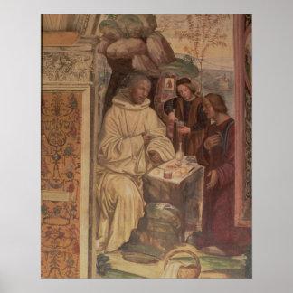 St. Benedict contra uma paisagem, da vida o Poster