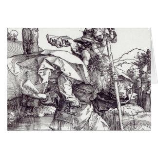 St Christopher que leva o cristo infantil, 1511 Cartão Comemorativo