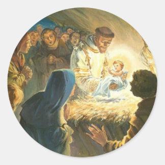 St Francis com natividade do presente do Natal de Adesivo Redondo