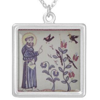 St Francis de Assisi com pássaro Colar Banhado A Prata