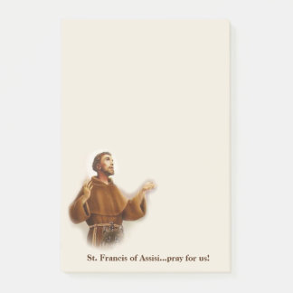 St Francis do santo padroeiro de Assisi dos Sticky Notes