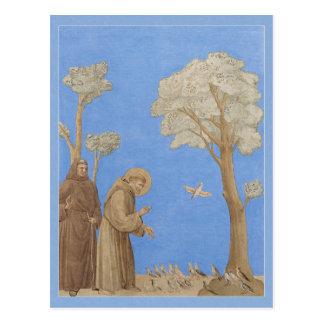 St Francis que preaching ao cartão dos pássaros