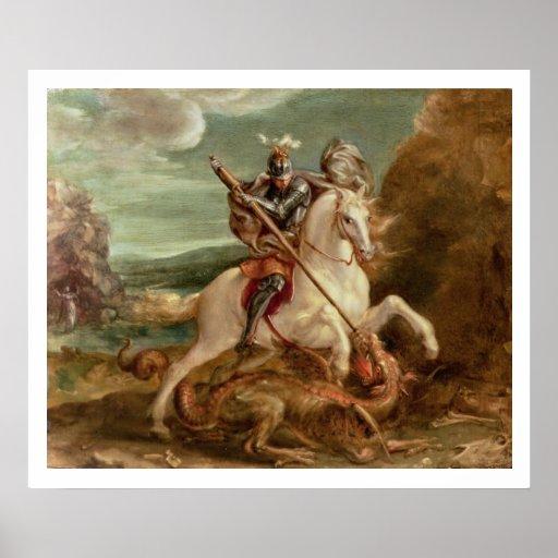 St George que massacra o dragão, (óleo no painel) Pôsteres