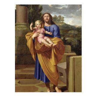 St Joseph que leva o Jesus infantil, 1665 Cartão Postal