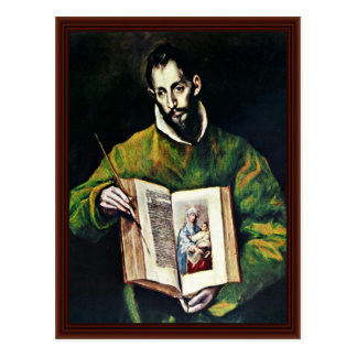 St Luke como o pintor pelo EL de Greco Cartões Postais
