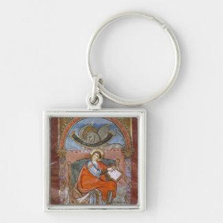 St Luke, do evangelho de St. Riquier Chaveiro Quadrado Na Cor Prata