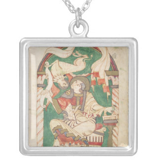 St Mark, de um evangelho da abadia de Corbie Colar Com Pendente Quadrado