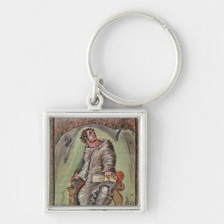 St Mark em sua mesa Chaveiro Quadrado Na Cor Prata