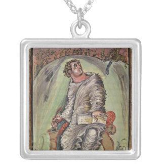St Mark em sua mesa Colar Com Pendente Quadrado