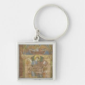 St Matthew, do evangelho de St. Riquier Chaveiro Quadrado Na Cor Prata