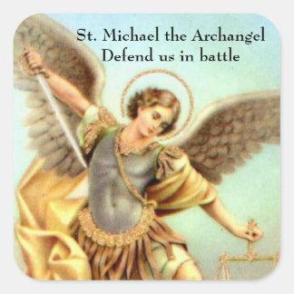 St Michael a armadura da espada do arcanjo Adesivo Quadrado