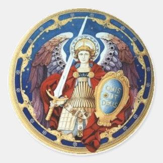 St Michael a etiqueta redonda do arcanjo Adesivo