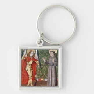 St Michael e St Francis de Assisi, c.1480 Chaveiro Quadrado Na Cor Prata