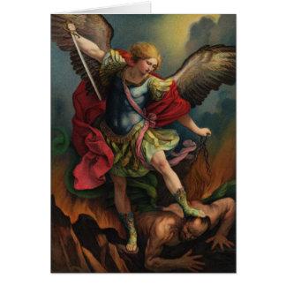 St Michael o cartão de nota do arcanjo