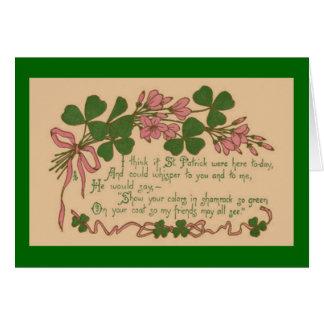 St Patrick do trevo do vintage mostra o dia do seu Cartão Comemorativo