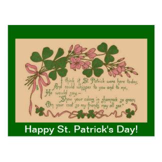 St Patrick do trevo do vintage mostra o dia do seu Cartão Postal