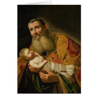 St. Simeon que apresenta o cristo infantil Cartão Comemorativo