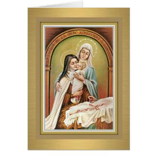 St. Therese a flor pequena w/Mary & cartão de