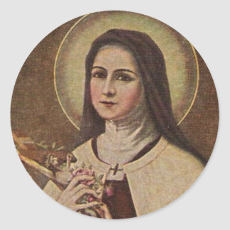 Adesivo Redondo St. Therese de Lisieux com etiqueta do