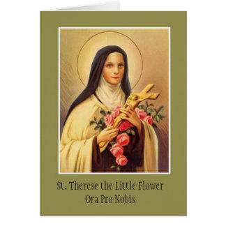 St. Therese do crucifixo infantil dos rosas de Cartão Comemorativo