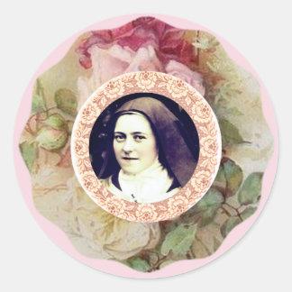 St. Therese os rosas pequenos da flor Adesivo Redondo