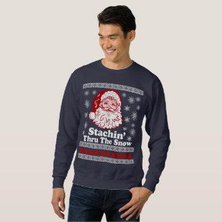 Stachin através da camisola feia do Natal da neve Moletom