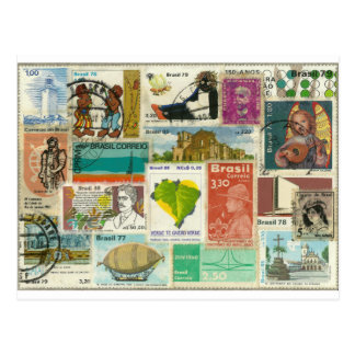 Stamp-themed Postcard Cartao Postal