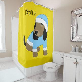 Star a cortina de chá bonito do amarelo do cão de cortina para box