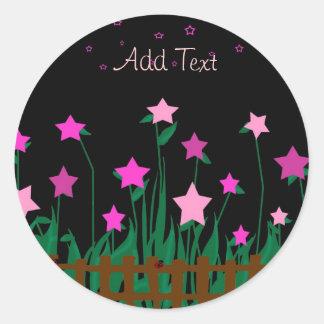 Star flores com joaninhas, adicione etiquetas do adesivos em formato redondos