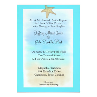 "Starfish Seashell Wedding Invitation 5"" X 7"" Invitation Card"