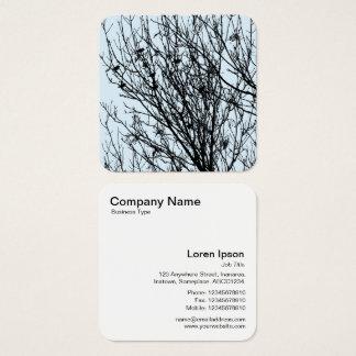 Starlings em uma árvore - preto em D3E5EF azul Cartão De Visitas Quadrado