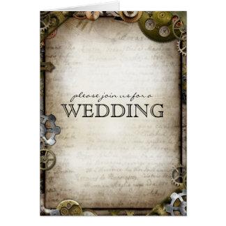 Steampunk alinha cartões do convite do casamento