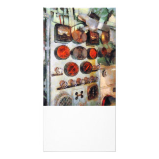 Steampunk - calibres na sala de motor cartões com foto personalizados