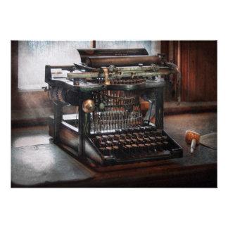 Steampunk - máquina de escrever - uma máquina de e convite personalizados