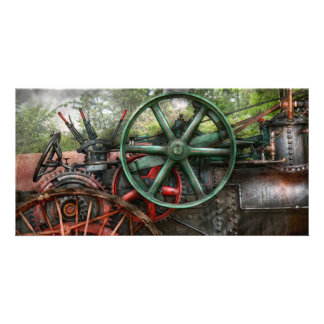 Steampunk - máquina - transporte do futuro cartão com foto
