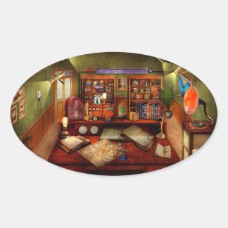 Steampunk - meu estudo ocupado adesivos em formato oval