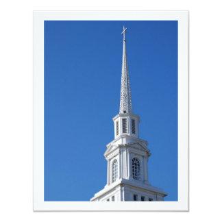 Steeple branco da igreja convite 10.79 x 13.97cm