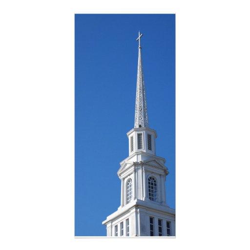 Steeple branco da igreja panfleto informativo