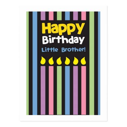 Stripey do irmão mais novo do feliz aniversario cartao postal
