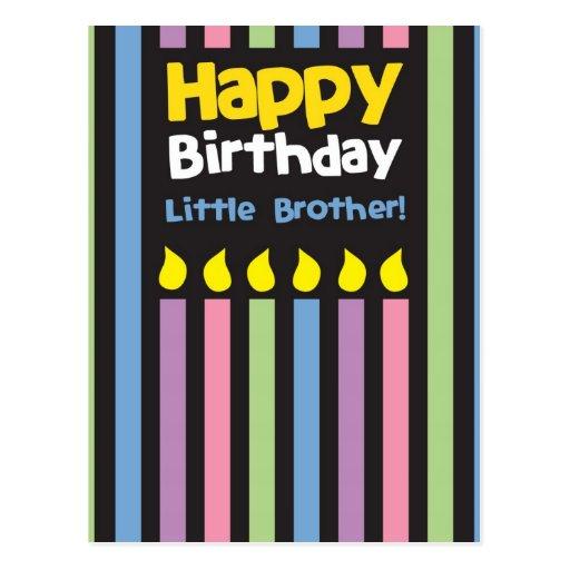 Stripey do irmão mais novo do feliz aniversario cartão postal