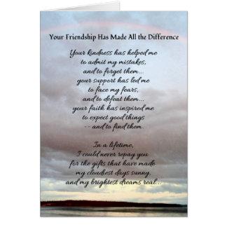 Sua amizade… cartão comemorativo