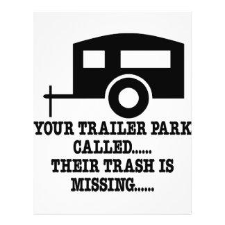 Sua chamada do parque de caravanas seu lixo falta panfletos coloridos