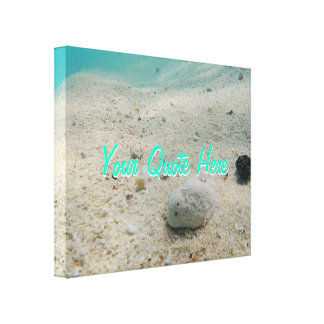 Sua das citações areia subaquática tropical aqui | impressão em canvas