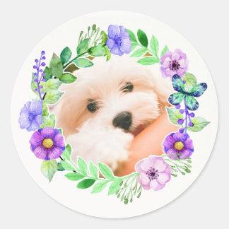 Sua foto em etiquetas de um quadro da flor