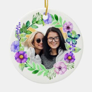 Sua foto no ornamento do costume do quadro da flor