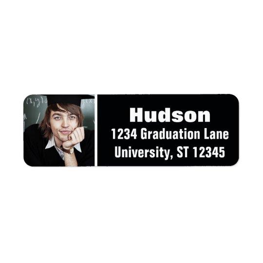 Sua graduação aqui personalizada da foto etiqueta endereço de retorno