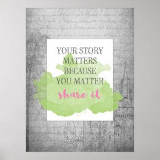 Sua história importa o poster 18x24 inspirado de |