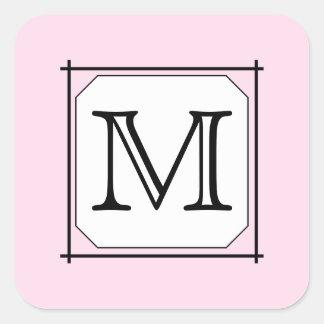 Sua letra. Monograma feito sob encomenda. Branco Adesivo Quadrado