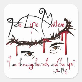 Sua vida importa etiquetas cristãs adesivo quadrado