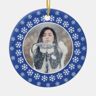 SUAS 2 FOTOS no floco de neve quadro o ornamento